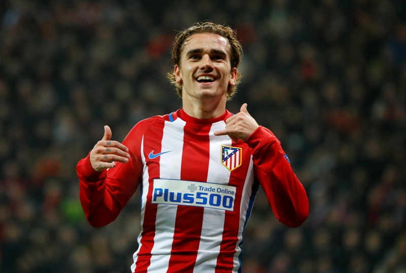 Football Soccer - Bayer Leverkusen v Atletico Madrid - UEFA Champions League Round of 16 First Leg - BayArena, Leverkusen, Germany - 21/2/17 Atletico Madrid's Antoine Griezmann celebrates scoring their second goal Reuters / Wolfgang Rattay Livepic